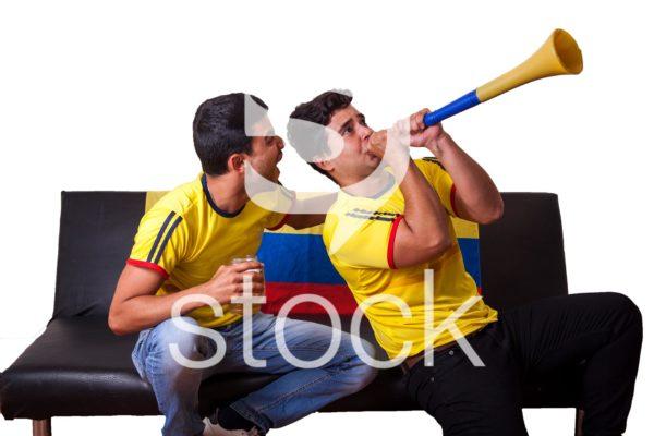 Hinchas de la selección colombia celebrando un gol.